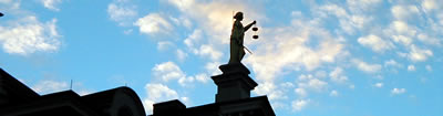 Image of Lady Justice on the Athens County Courthouse in Athens, Ohio